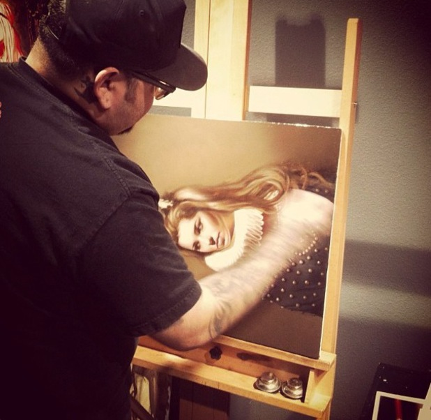 Cheryl Cole painting by her tattoo artist - 12 September 2013