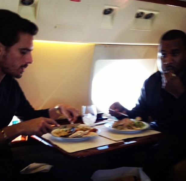 Scott Disick has dinner on a private jet with Kanye West - 10.9.2013