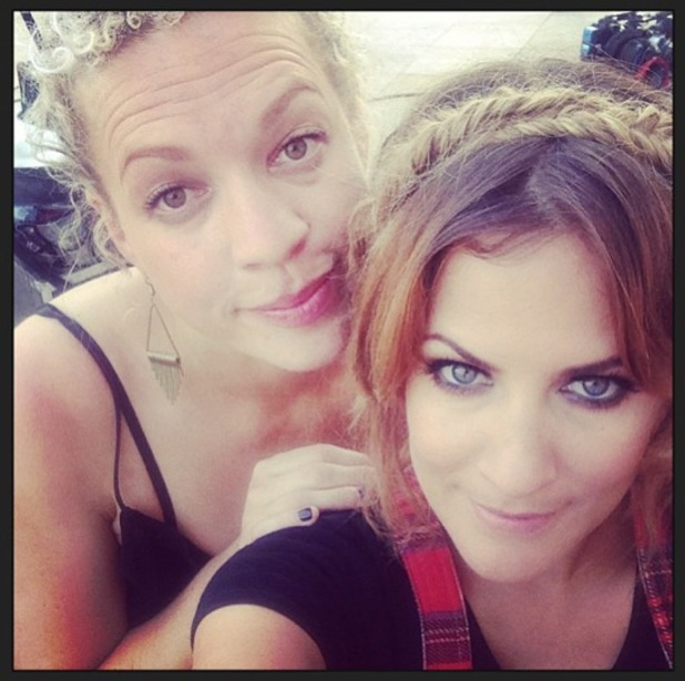Caroline Flack poses with fishtail halo braid at judges houses, X Factor, 11 September 2013