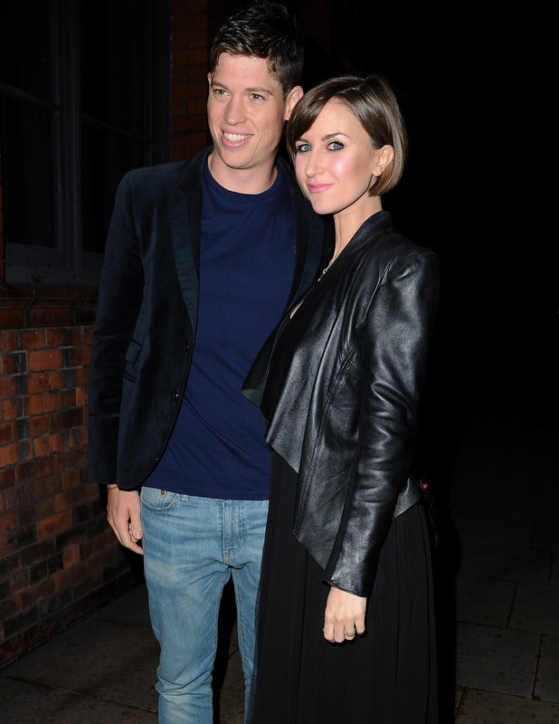 Katherine Kelly and her husband Ryan Clark arrive for Catherine Tyldesley's 30th birthday party in Manchester, 14th Sept 2013