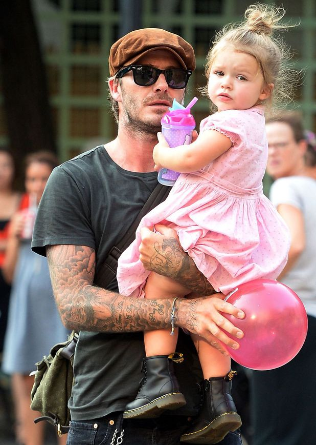 David Beckham and Harper Beckham play in the park in New York 10 Sep 2013