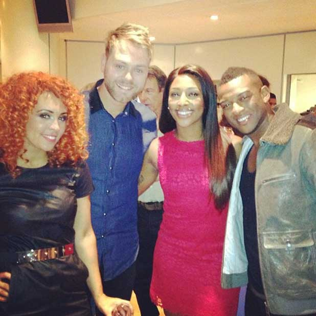 Alexandra Burke showed her support for Oritse Williams and his girlfriend AJ Azari on Stepping Out. Also posing her with Brian McFadden.