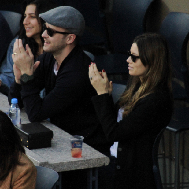 Celeberties came out in style to watch the Mens Final at the 2013 US Tennis Open. PersonInImage:Justin Timberlake, Jessica Biel Credit :Joel Ginsburg/WENN.com