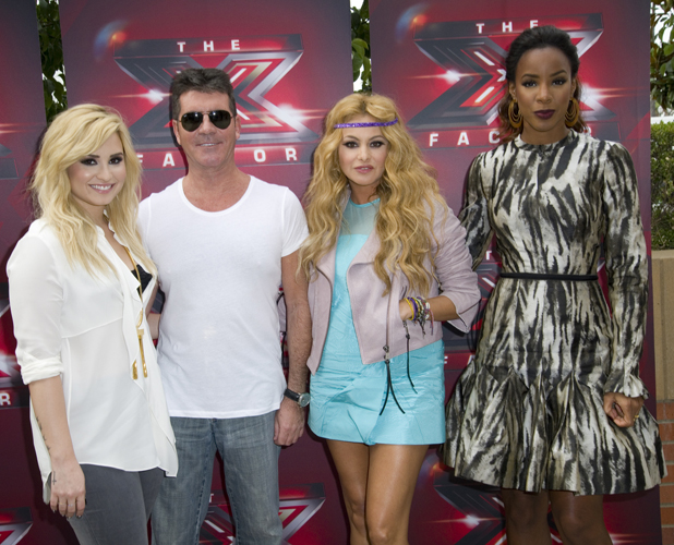 Fox's 'The X Factor' judges at the Galen Center PersonInImage:	Demi Lovato, Simon Cowell, Paulina Rubio, Kelly Rowland Credit :	WENN.com