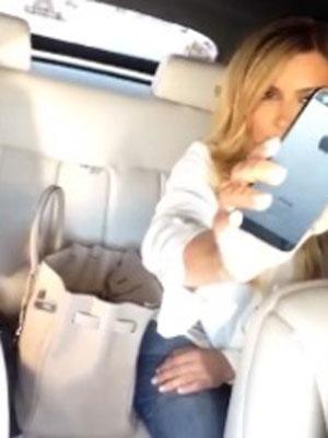 Kim Kardashian, Scott Disick, Kourtney Kardashian and Khloe Kardashian sing along to Drake while driving, 9 September 2013