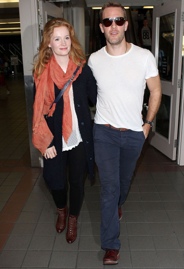 James Van Der Beek and wife Kimberly Brook arriving at the Los Angeles International Airport, America - 08 Sep 2013