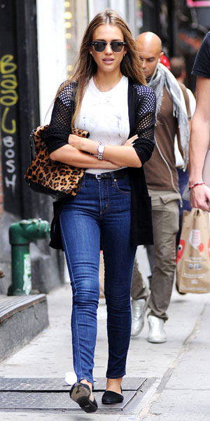 Actress, Jessica Alba out and about ahead of Fashion Week shows in NYC 08/09/13