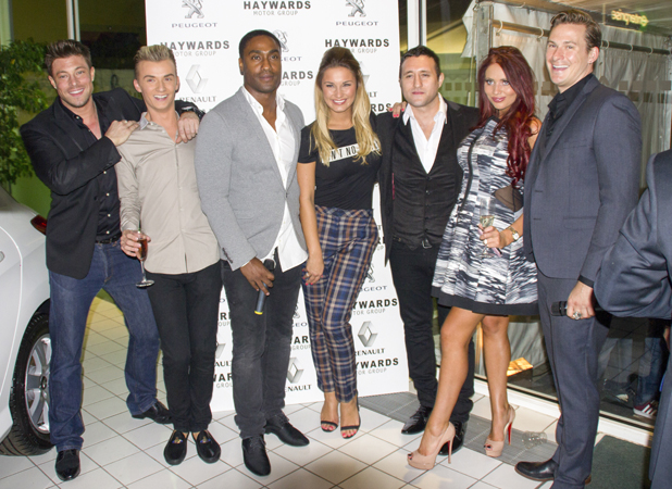 The Hayward's 20th anniversary event on Saturday (7 September) Sam Faiers, Amy Childs and Harry Derbidge with Blue's Lee Ryan, Duncan James, Simon Webbe and Antony Costa