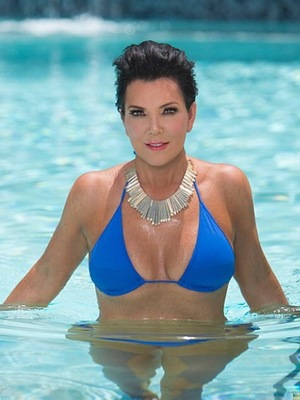 Kris Jenner poses in blue bikini - 15 September 2013
