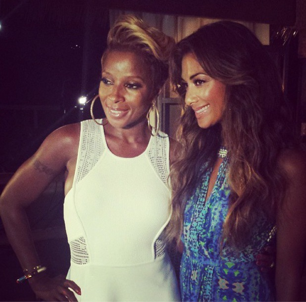 Mary J. Blige and Nicole Scherzinger in Antigua filming for The X Factor's judges houses