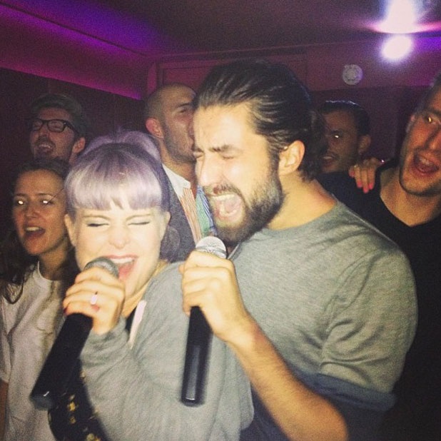 Kelly Osbourne and Jack Guinness sing karaoke at Pixie Geldof's birthday, 17 September 2013
