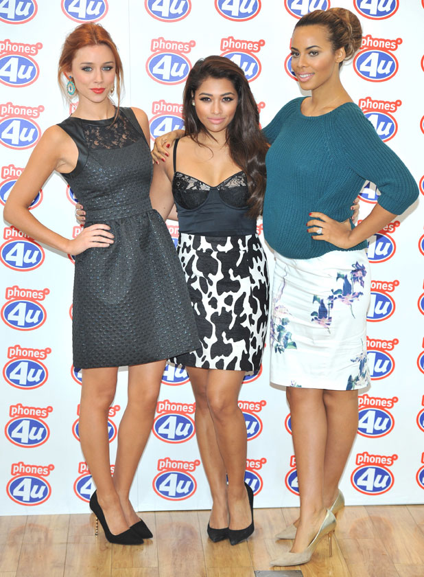 Una Healy, Vanessa White and Rochelle Humes of The Saturdays visit the Phones 4U shop on Oxford Street, to promote the company's '#projectupgrade' campaign, 20 September 2013