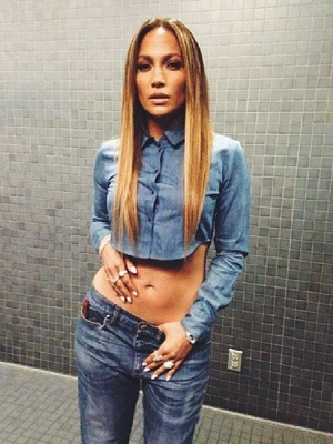 Jennifer Lopez wears double denim while filming for American Idol