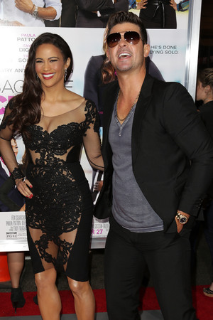 Celebrities attend Baggage Claim premiere at Premiere House at Regal Cinemas L.A. Live. Paula Patton, Robin Thicke - 25.9.2013