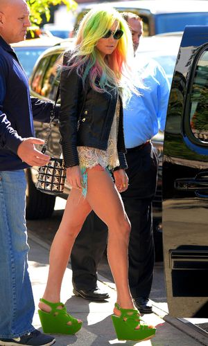Ke$ha out and about with rainbow hair, New York, America - 24 Sep 2013