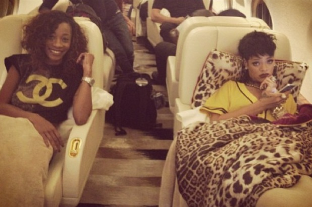 Rihanna and Melissa Forde on their private jet - Sept 2013