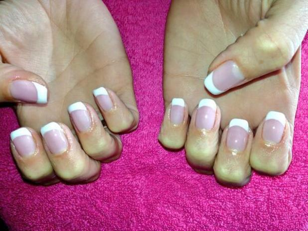 Frankie Essex shows off her French Gelish Manicure
