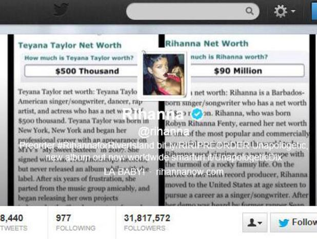 Rihanna posts image of her and Teyana Taylor's net worth on Twitter - 23.9.2013