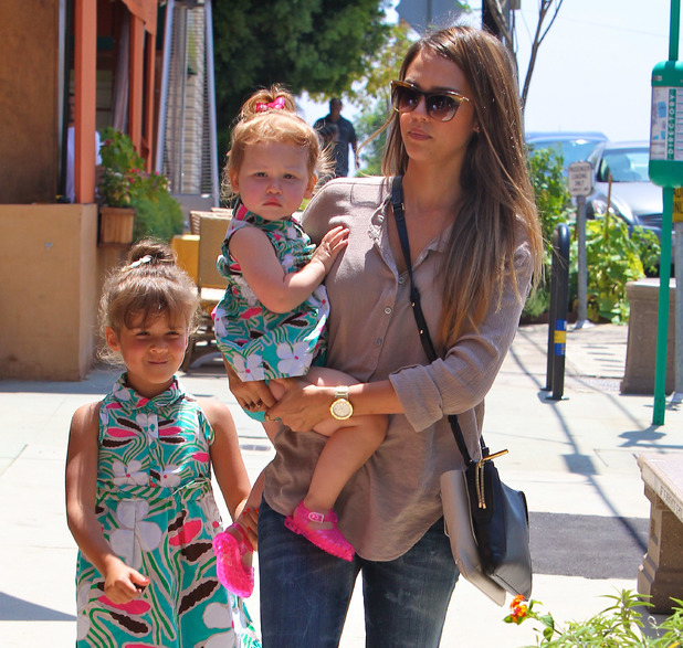Jessica Alba takes her daughters to a birthday party after shopping for a gift at Star Toys in Brentwood Jessica Alba, Haven Garner Warren, Honor Marie Warren - 3.8.2013