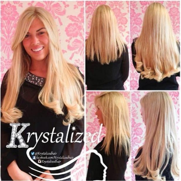 Frankie Essex shows off her new Krystalized hair extensions on Instagram, 23 September 2013