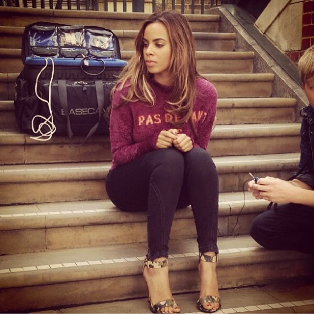 Rochelle Humes wearing Rihanna for River Island camo heels, Instagram, 26 September