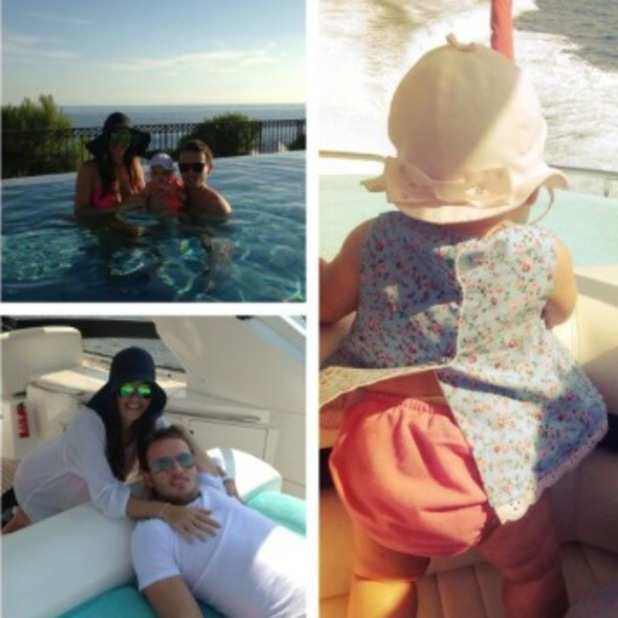 Imogen Thomas pictured in south of France with daughter Ariana Siena and boyfriend Adam Horsley - 23 September 2013