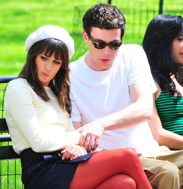 Lea Michele and Cory Monteith, filming on the set of 'Glee' on location at the Lincoln Center. Credit :	WENN Special Instructions : Date Created :	04/26/2011