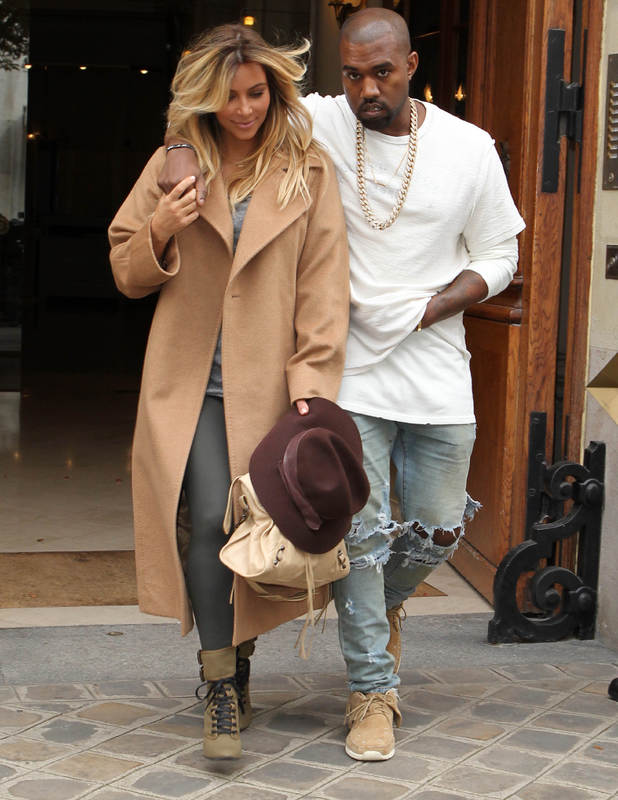 Kim Kardashian and Kanye West out and about in Paris, France - 28 Sep 2013