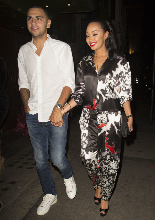 Little Mix's Leigh Anne Pinnock and her footballer boyfriend Jordan Kiffin seen leaving Mahiki, Credit :	WENN.com