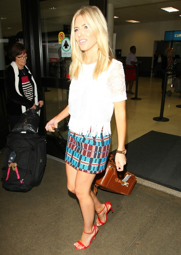 Mollie King arrive at Los Angeles International Airport, LAX, 23 September 2013