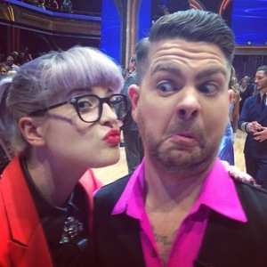 Kelly Osbourne and Jack Osbourne in the audience at Dancing With The Stars.