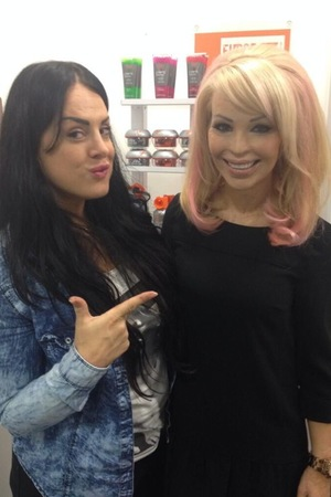 Katie Piper with her new pink hair