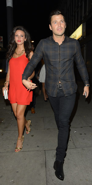Mark Wright and Michelle Keegan arriving at Faces' Back In Essex party, 5 Oct 2013.