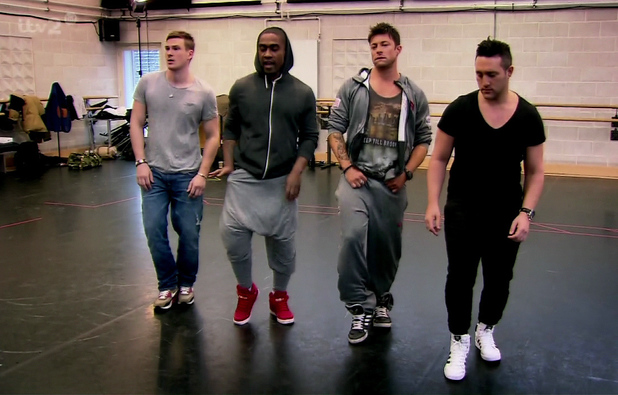 The Big Reunion. Shown on ITV2 Boy Band Blue practice all there old dance routines. Duncan James, Lee Ryan, Simon Webbe, Antony Costa