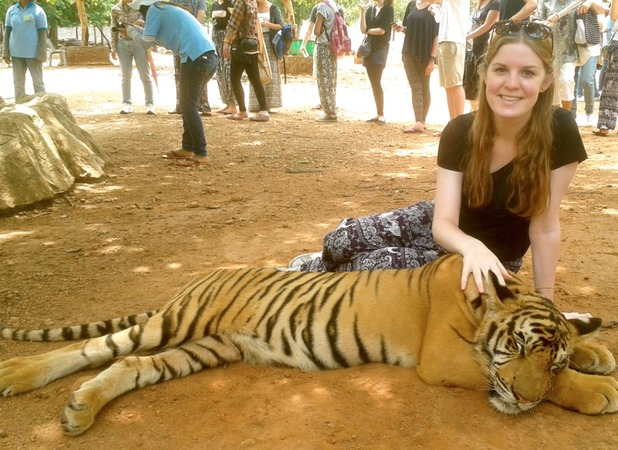 Isabelle with the tigers in the Temple
