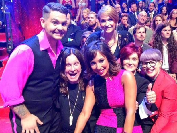 Ozzy Osbourne, Sharon Osbourne, Kelly Osbourne and Lisa Stelly with Jack Osbourne, Cheryl Burke on Dancing With The Stars.