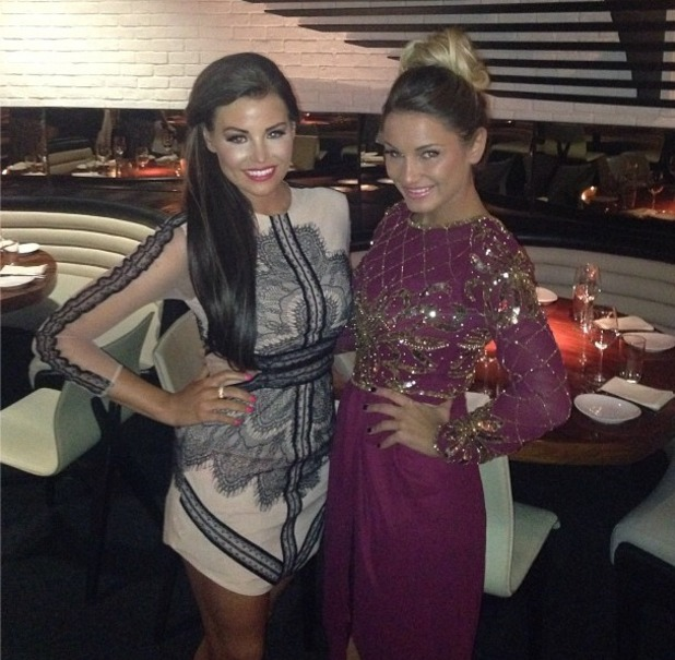 Jessica Wright and Samantha Faiers pose in Las Vegas, 29 September 2013