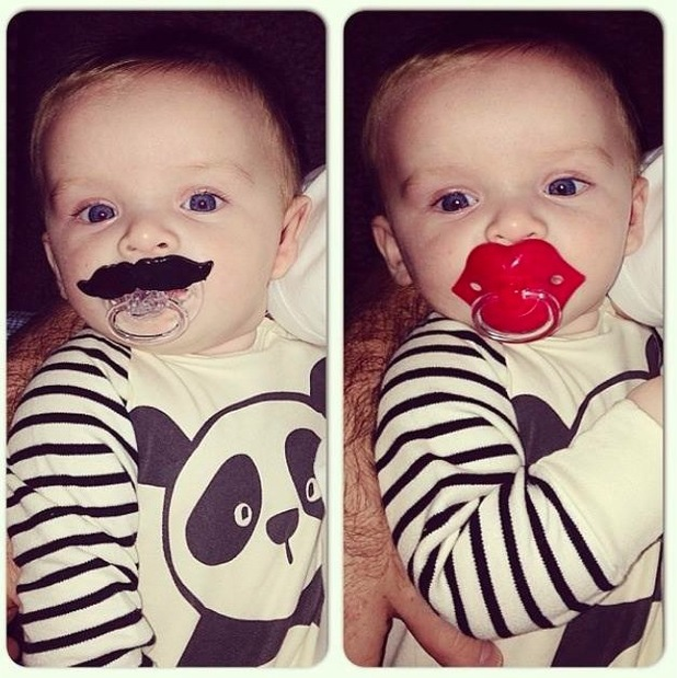 Coleen and Wayne's son Klay Rooney sucks on both a lips and a moustache dummy - 2 October 2013