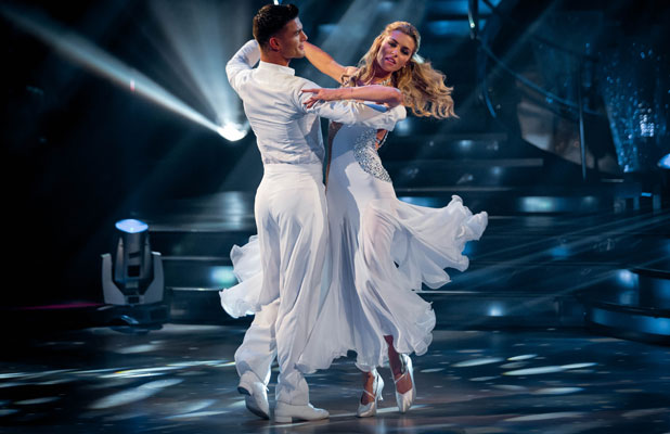 Abbey Clancy and Aljaz Skorjanec, Strictly Come Dancing Week 1 Live Show - Waltz, 27 September 2013