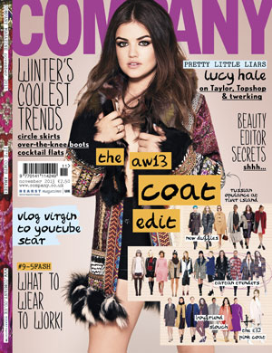 Lucy Hale is the cover star for the November issue of Company magazine (on sale 9th October)