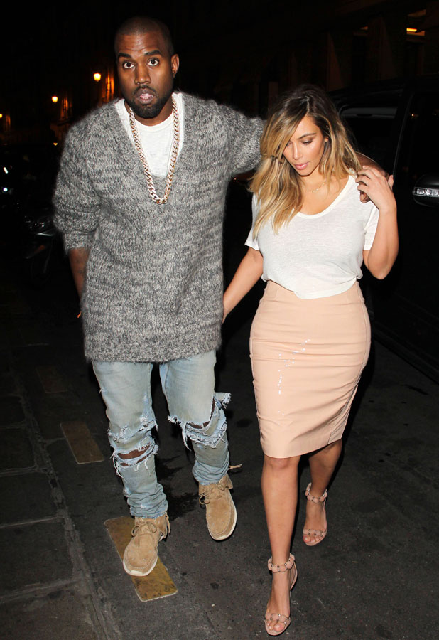 Kim Kardashian and Kanye West out and about, Paris, France - 30 Sep 2013