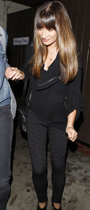 Lea Michele holds a friends hand as she leaves Dominik's restaurant in West Hollywood, 30 September 2013