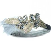 Johnny Loves Rosie Charleston Style Sequin Feather Silver Headband