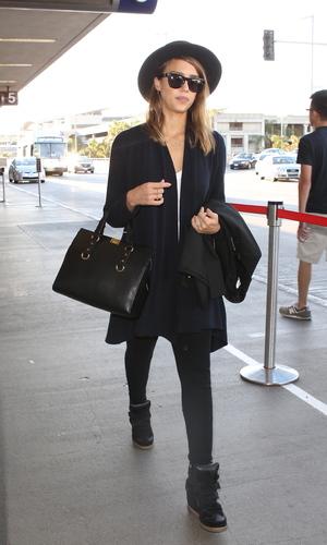 Jessica Alba arrives at LAX airport - October 2013