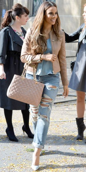 Rochelle Humes outside ITV studios in London, 9 October 2013