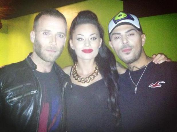 Former 5ive member Jason 'J' Brown with 5ive's Abz Love and his girlfriend with Vicky Fallon (5 October)