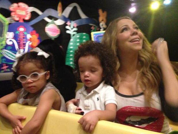 Mariah Carey and twins Monroe and Moroccan at Disneyland, California - October 2013