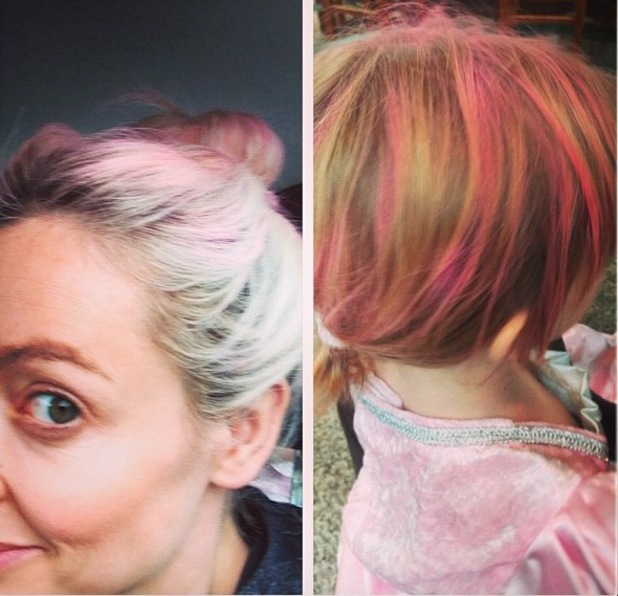 Pregnant Cherry Healey and daughter Coco dye their hair pink for charity - 7 October 2013