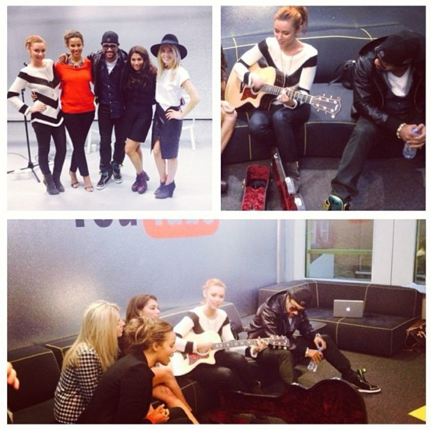 The Saturdays meet Shaggy at Living For The Weekend playback - 9 October 2013