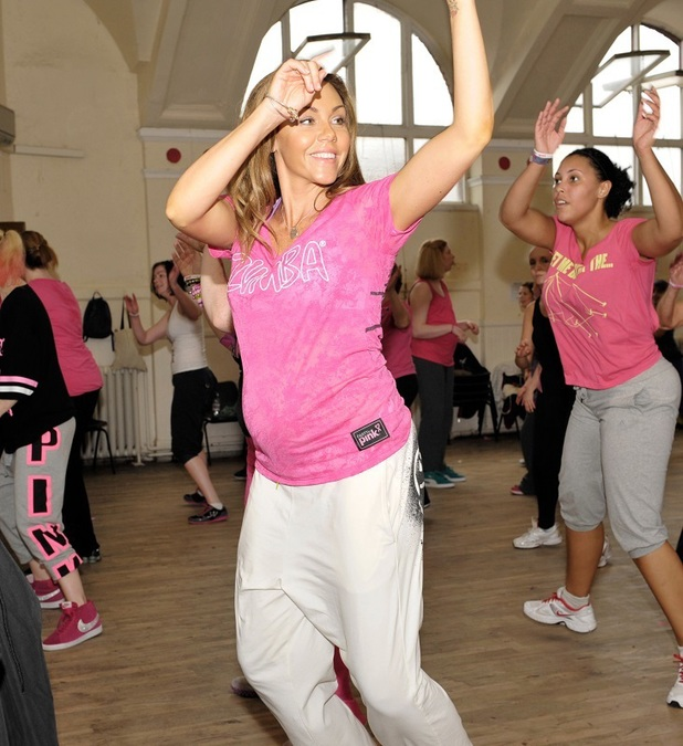 Zumba Party In Pink ambassador, Michelle Heaton, participates in local Zumbathon event, alongside Zumba Instructor Jo Symes and Sandra Harnes to raise money for the Zumba Global Research Grant for Breast Cancer Prevention. 10 May 2013